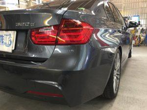 BMW320dMスポーツ・プレミアムコーティング後の運転席側後方より