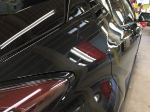 C-HR・プレミアムコーティング後の運転席側クォーターパネル付近
