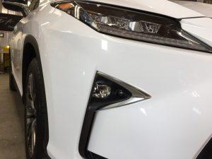 レクサスRX・ハイモースコート施工後の運転席側ヘッドライト付近