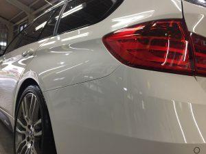 BMW3ツーリング・ハイドロフィニッシュ施工後の施工後の助手席側テール周り