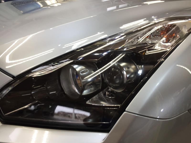 GT-R・ヘッドライトクリーニング&プロテクションフィルム