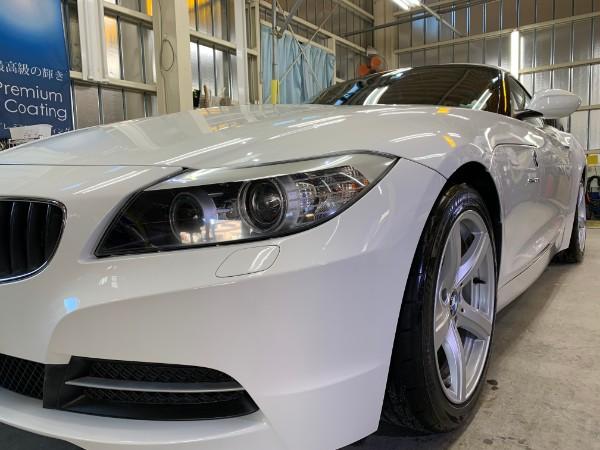 BMWZ4・スタンダードコーティング後の左ヘッドライト付近