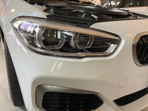 BMW ヘッドライトプロテクションフィルム右施工前