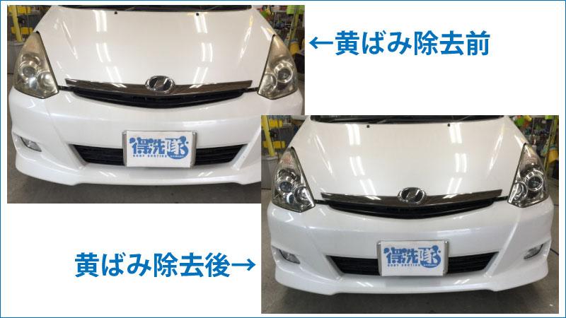 ヘッドライトの黄ばみを除去前と除去後の比較