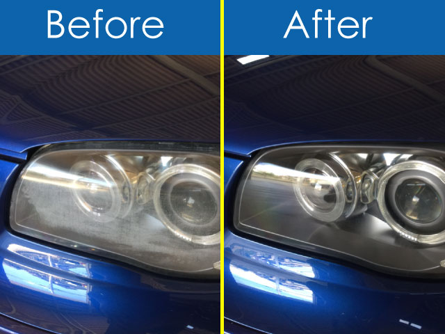 BMW3・青・ヘッドライトBefore&After