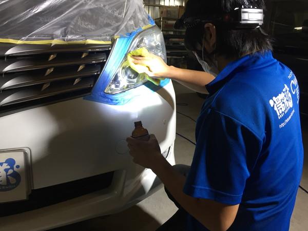 ヘッドライト黄ばみ取り作業工程4・コーティング施工