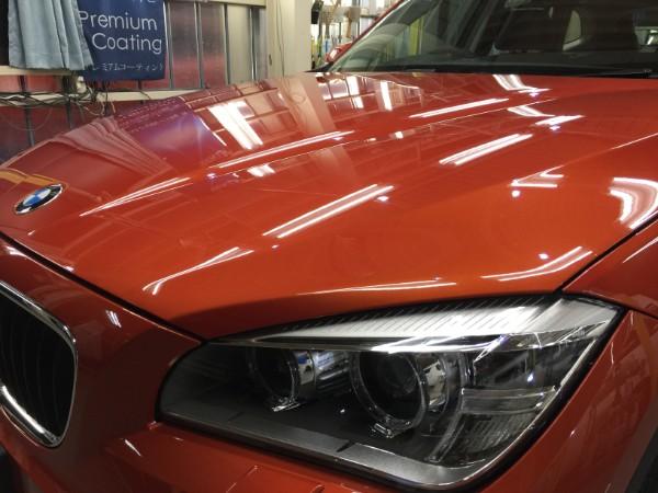 BMWX1・ボディコーティング後のボンネット